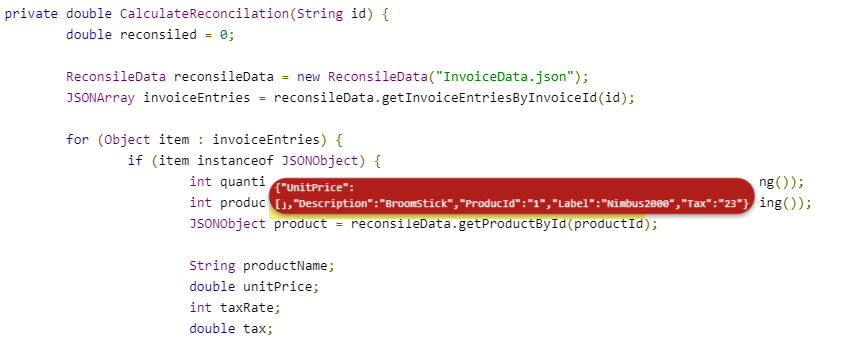 Value prompts - values overlayed on code
