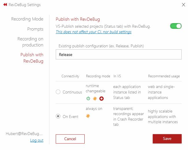 Visual Studio Extension Settings view on publish tab