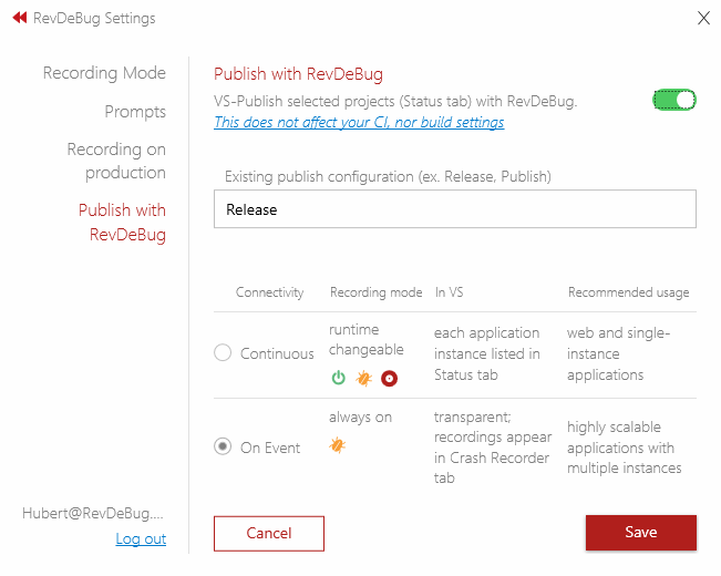 Visual Studio Extension Settings view on publish tab